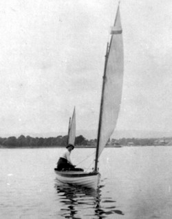 Edwardian Lady in sailing canoe; Loch Lomond