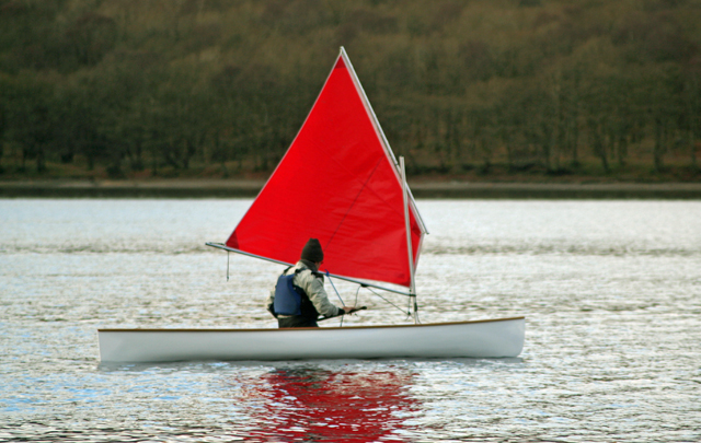Little Egret solo sailing canoe