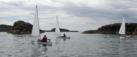 sailing canoes, sound of Iona