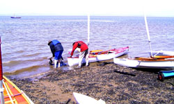 Launching at Morecambe sailing club slip
